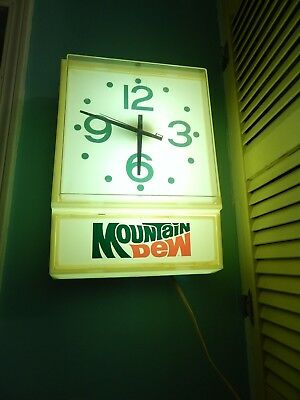 Mountain Dew ~Junior New Dimension Wall Clock~ Indoor Electric Sign ~Pepsi Co.~