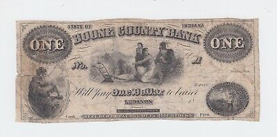 Boone County Bank Note, $1 One Dollar Lebanon Indiana // US USA currency