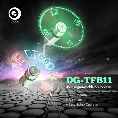 Digoo DIY USB Colorful LED RGB Programmable Fan& Real Time LED Clock Cooling Fan
