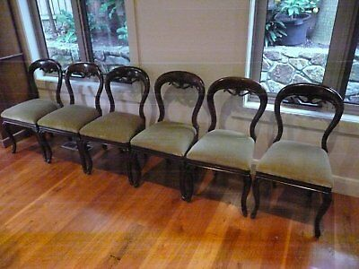 A Set of 6 Victorian Antique Balloon Back Dining Chairs