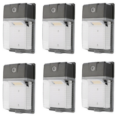 6 x LED Dusk to Dawn Sensor Wall Pack Light 5000K Daylight 2200lm 20W 100-277V
