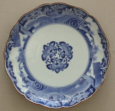 Antique Japanese ko-Imari porcelain plate bowl 1700s blue white Edo Pd. Kakiemon