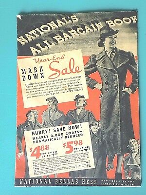 Vintage NATIONAL BELLAS HESS Bargain Book 1940s Clothing Shoes Catalog