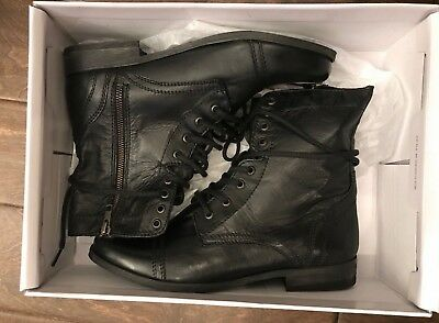 6fbb4d94f04 STEVE MADDEN TROOPAH black leather boots Combat Moto Lace Up Black 8.5 New  w Box