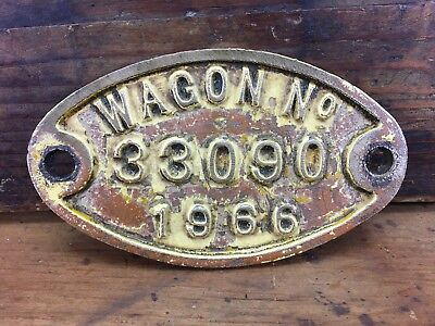 VINTAGE 1966 WGR WESTERN AUSTRALIA RAILWAYS WAGON No. PLAQUE WAGR