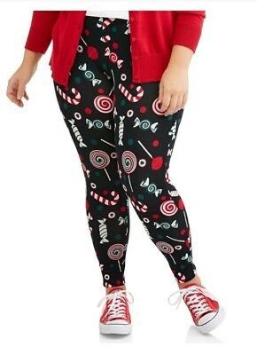 Faded Glory Christmas Leggings XXL Womens Holiday Candy Cane Black Footless NWT
