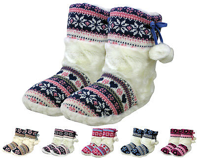 House Slippers Booties Soft Lining Indoor Outdoor Warm Rubber Sole New With Tags