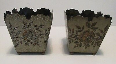 """pr Vintage French Tole Planters 5"""" Square Ball Feet Signed Ede´Tin Roses Gray"""