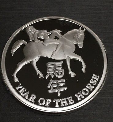 Stunning Year Of The Horse 100 Mills .999 Silver Clad 1 Oz Coin!