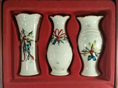 """Beautiful Lenox """"winter Greetings""""  Set Of 3 Bud Vases 5"""" Ivory Gold New In Box"""