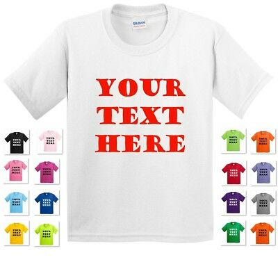 Youth Kids Personalized Custom Print Your Own Text On A T-Shirt Customized Tee