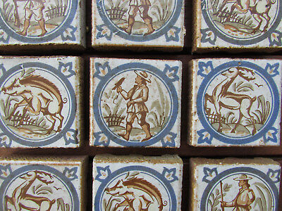 ANTIQUE Dutch Delft? Set of TILES - manganese blue white small hunter hunting