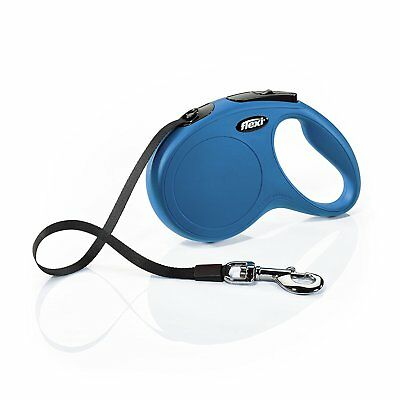 FLEXI New Classic Retractable Tape Leash 16' ft Blue for M/L Dogs max 110lbs