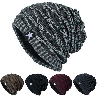 Men Women Winter Slouch Skull Hip-hop Hat Knit Ski Beanie Crochet Baggy Cap LD