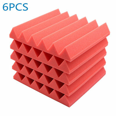 "6pcs Red Acoustic Soundproof Sound Stop Absorption Wedge Studio Foam 12""x 12""x2"""