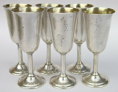 Lot of 6 INTERNATIONAL Sterling Silver LORD SAYBROOK Cordial Cups / Mini Goblets
