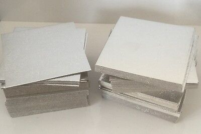 "50 X 4"" INCH SQUARE Thin Cut Edge Cake Boards Cards Sugarcraft Culpitt SILVER"