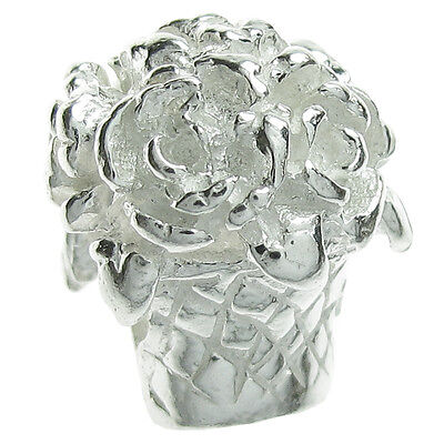 Sterling Silver Rose Flower Bouquet Basket Love Bead for European Charm Bracelet