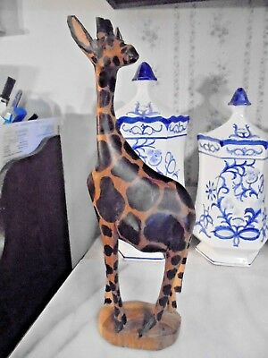 Hand Carved Spotted Giraffe Sculpture Statue 12.5 in. - Wood -  African Folk Art