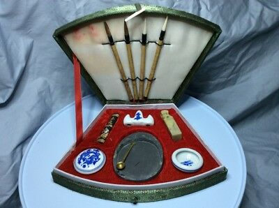 Vintage Asian Chinese Oriental Calligraphy Brush Set Boxed Display Souvenir20CmL