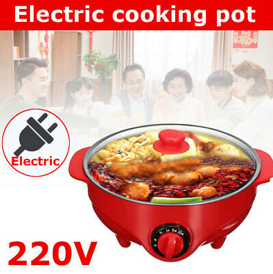 6L Hot Pot Stainless Steel Electric Grill Steamer Kitchen Cooker Fry Cooking