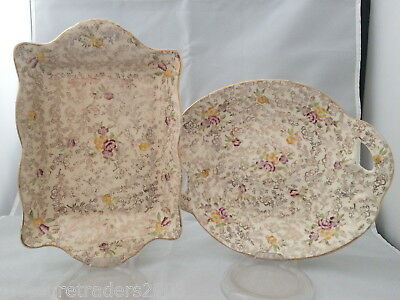 🌟 2 Gold Chintz Pearl Delight Handled Divided Serving Dishes James Kent