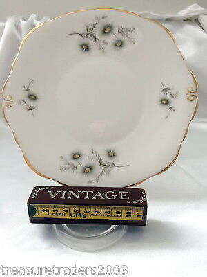 🌟 DUCHESS ENGLAND CAKE OR SERVING PLATE delicate silver grey floral sprays gold