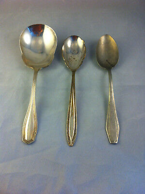 Vintage Assorted Silver-Plated Serving Spoons - Lot of 3