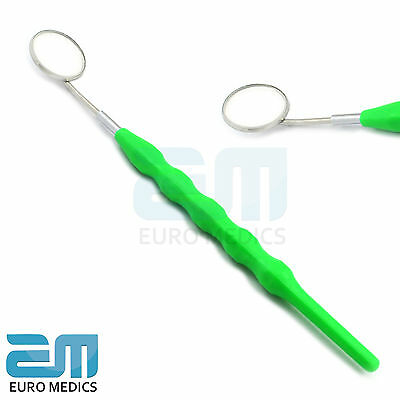 Dental Mouth Mirror No.5 with Plastic Green Color Handle Oral Teeth Hyigene