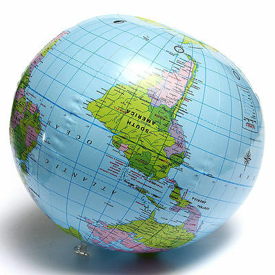 PVC Inflatable Blow Up World Globe 40CM Earth Atlas Ball Map Geography Toy MRSBD