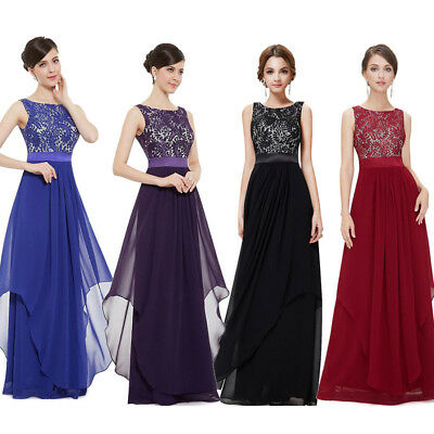 Women Lace Skirt Long Dress Elegance Chiffon Splicing Solid Color Party E6688