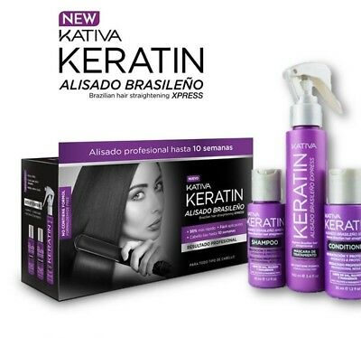 KATIVA KERATIN XPRESS Brazilian Hair Straightening NEW Formula + GIFT