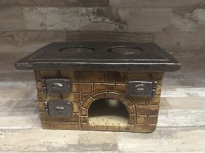 Vintage Slavic handmade mini kitchen fairy stove, oven, fireplace made from clay