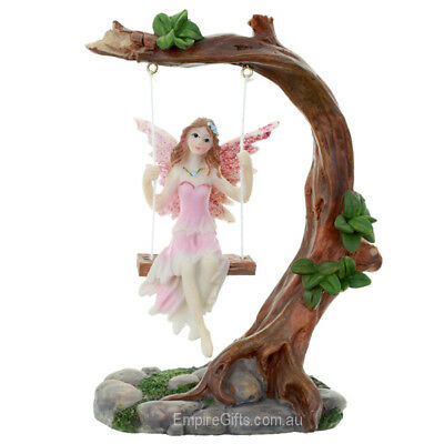 1 x Fairy on a Swing Fairy Statue Pink