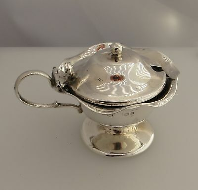 Silver Mustard Pot With Blue Glass Liner - Worn Maker / Sponsor / Hallmarks