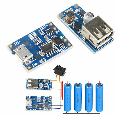 DIY Li-ion 18650 Lithium Polymer Battery Charging Module + USB 5V Step Up Board