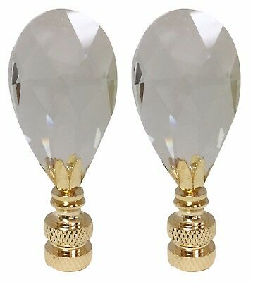 Royal Designs Radiant Teardrop Clear Crystal Lamp Finial for Lamp Shade