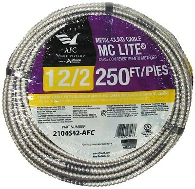 AFC Aluminum MC Light Armored Cable 250 Ft 12/2 Solid Copper Electrical Wiring