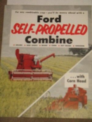 Vintage 1960 Ford Tractor Self Propelled Combine Dealer Brochure