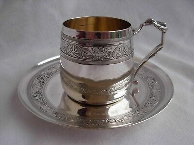ANTIQUE FRENCH STERLING SILVER COFFEE CUP & SAUCER,EMPIRE STYLE,EARLY XXth.