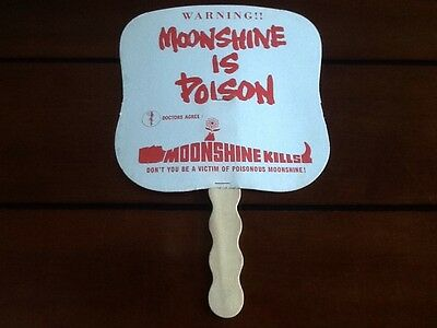 Moonshine is poison vintage advertising hand fan