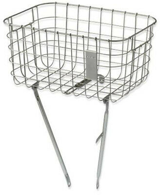 Basil Robin Steel Wire Front Bicycle Basket Silver Cloud