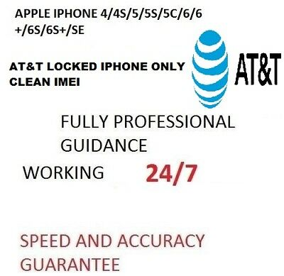 At&t Unlock  Service For Iphone 4/4S/5/5C/5S/6/6+/6S/6S+/se Clean Im Fast 30 Min