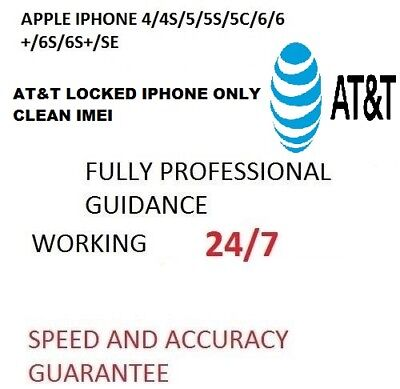 At&t Usa Unlock Service For Iphone 4/4S/5/5C/5S/6/6+/6S/6S+ Clean Im Fast 30 Min