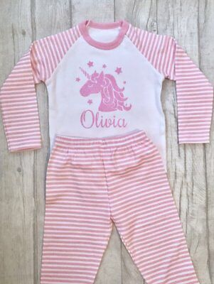 PRINCESS PERSONALISED UNICORN PYJAMAS, Pink White PJs Pink Glitter Unicorn Name