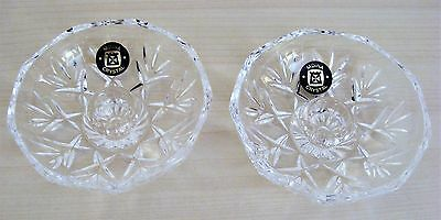 Lovely Pair Of Mdina Cut Glass Crystal Candlestick Holders