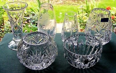 "Joblot 6 Cut Glass Crystal Vases & Bowls Incl. Stuart, Doulton - 2 3/8"" - 5"""