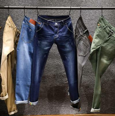 New Fashion Men Boys Slim Fit Stretch Denim Pants Casual Jeans Straight Trousers
