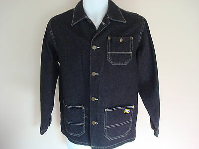 CAT Caterpillar boys Denim barn chore Jacket Large USA black vtg