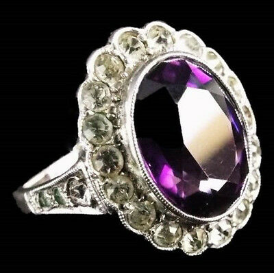 Vintage ART DECO Sterling Silver Amethyst & Faux Diamond Paste Dress Ring